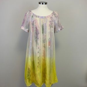 HD in Paris Ivory Ombre Chiffon Over Floral Print
